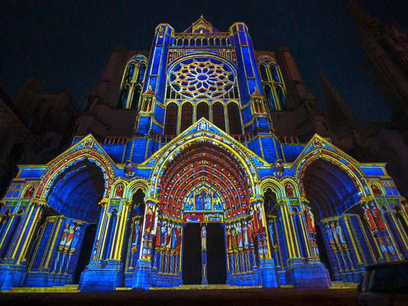 Night Shot Chartres Cathedral